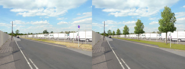 Vergleichsbild - Straße ohne Bäume und Straße mit Bäumen.